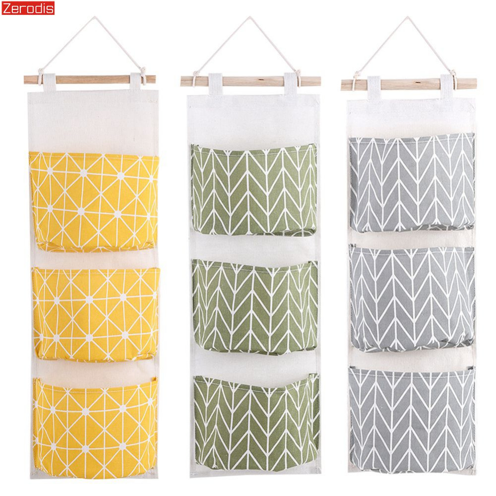 3 Pockets Cotton Linen Wall Hanging Storage Bags Door Pouch Bedroom Home Storage Pocket Home Decor Hanging Bag