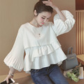 Women Tops and Blouses New Fashion 2016 Korean Style Ladies Lantern Sleeve Cute Ruffle Blouse