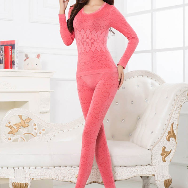 Print Cardigan Seamless Antibacterial Breathable Long Johns Body Shaped Underwears Set Women's Thermal Underwear Spring Winter