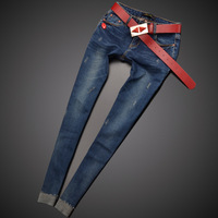 Бесплатная доставка Для женщин обтягивающие штаны джинсы женские джинсы одежда с поясом узкие брюки эластичные Для женщин тенденция
