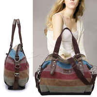 Brand New Women Lady Stripe Canvas Handbag Hit Color Shoulder Messenger Crossbody Bag Tote Outdoor Bags