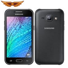 Original desbloqueado samsung galaxy j1 j100 4.3 polegadas duplo núcleo 4gb rom 5mp câmera sim duplo android telefone móvel