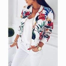 2cf5468ab Liva menina Casaco 2018 Mulheres Moda Senhoras Retro Floral Com Zíper Para  Cima Jaqueta Casual Casaco de Outono Outwear Roupas F..