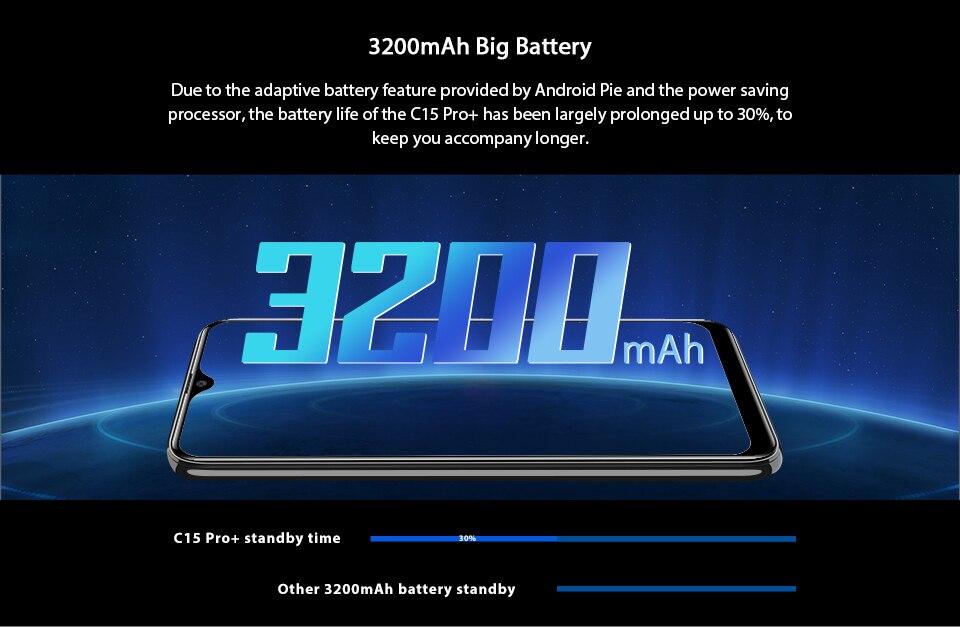 HTB13B1DXuP2gK0jSZFoq6yuIVXan OUKITEL C15 Pro+ 6.088'' 19:9 Android 9.0 Cellphones 3GB 32GB MT6761 Waterdrop 4G Smartphone Fingerprint Face ID 5G WiFi Phone