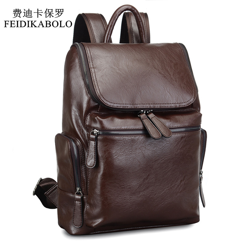 2017 Brand Designer Men Leather Backpack Men's School Backpack Bag Bagpack Mochila Feminina Black brown Travel Bag Shoulder bag