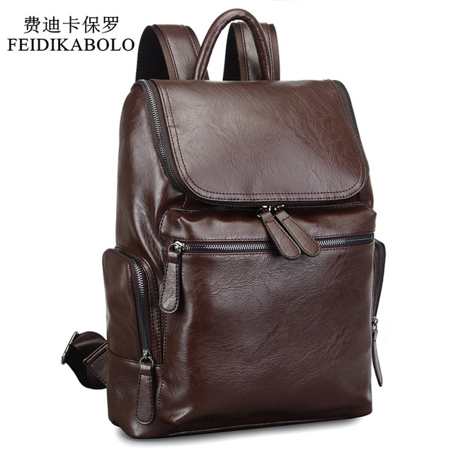 2017 Brand Designer Men Leather Backpack Men's School Backpack Bag ...