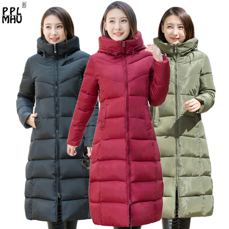 High quality 2019 Stand Collar Hooded Coat women Winter slim waist Warm Thicken long parkas plus size Solid Padded Parka 4XL