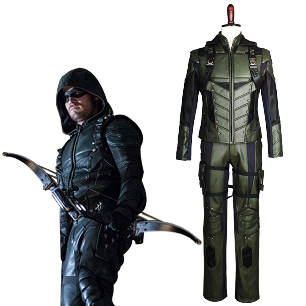 2017 New Green Arrow Cosplay Season 5 S5 Oliver Queen Cosplay Costume Outfit Harness Suit Uniform For Halloween Party Adult Men