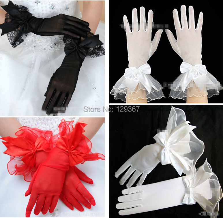 Women's lace gloves bow lace gloves sexy formal mesh gloves black red white color