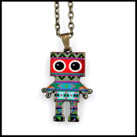 Hightly Detailed Ecofriendly Vintage Style Zinc Alloy Retro Charm Necklace Cute Funky Love Heart Kawaii Robot