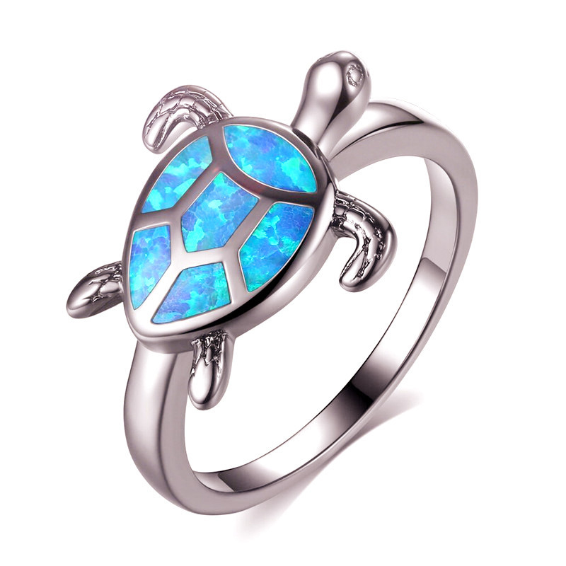 Marcatsa Turtle Rings Jewelry Tortoise-Ring Wedding-Band Fire Opal Animal Ocean Blue