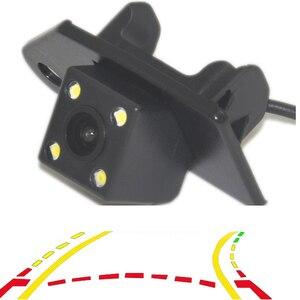 Trajetória dinâmica inteligente faixas câmera de estacionamento vista traseira em movimento guia estacionamento linha 4led noite para mitsubishi asx