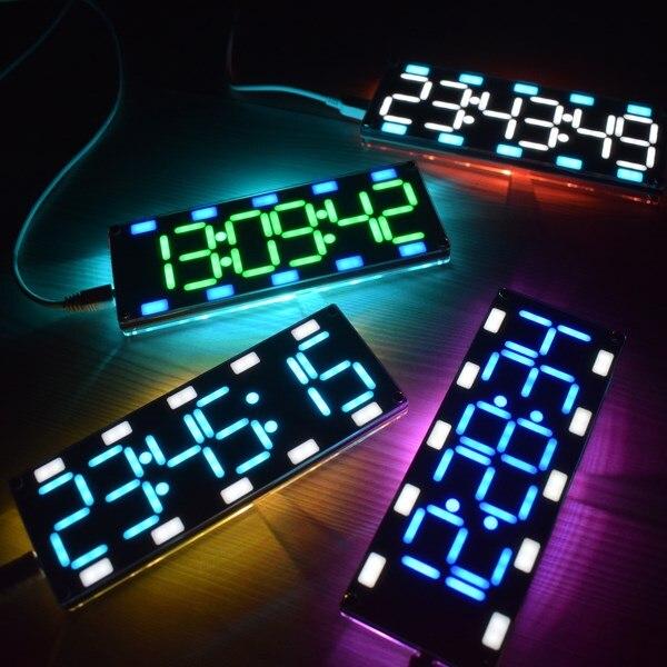 DIY 6 разрядный светодиодный Большой Экран два-Цвет цифровой трубки настольные часы комплект touch Управление