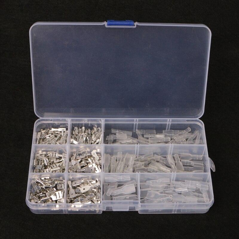 270Pcs Female & Male Spade Connectors Wire Crimp Terminals Set 2.8mm 4.8mm 6.3mm W315