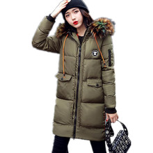 2017 Fashion Winter Women Long Down Cotton Jacket Parkas Female Winter Patch Designs Letter Thicken Hooded Fur Collar Coat CQ238