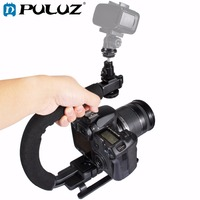 PULUZ For Steadycam U Grip C Shaped Handgrip Camera Stabilizer Kit LED Light Phone Clamp Adapter
