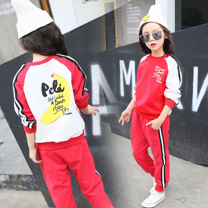 Girls sports suit 2018 autumn kids children sets new girls casual letter cotton suit fashion trend sports suit