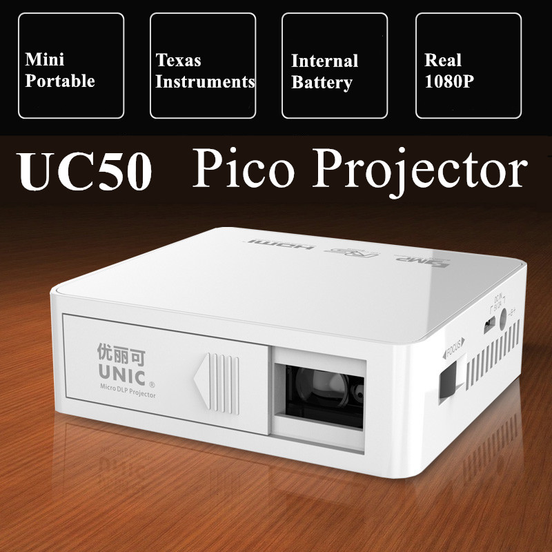 Unic UC50 800 Lumens Mini DLP Projector 1000:1 Pico Home Cinema Proyector Battery Build-in Beamer With USB TF AV HDMI unic p1 p1h dlp projector 30 ansi lumen mini tiny handheld pocket proyector built in battery home cinema theater beamer usb tf