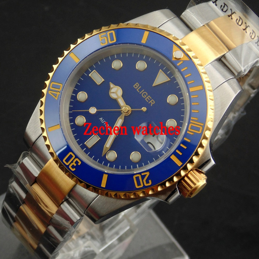BLIGER 40mm mens watch Ceramic Bezel Luminous Sapphire Automatic Steel Bands Watch цена и фото