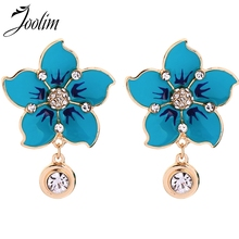 Joolim Jewelry Wholesale Enamel Blue White Black Flower Dangle Earring Drop