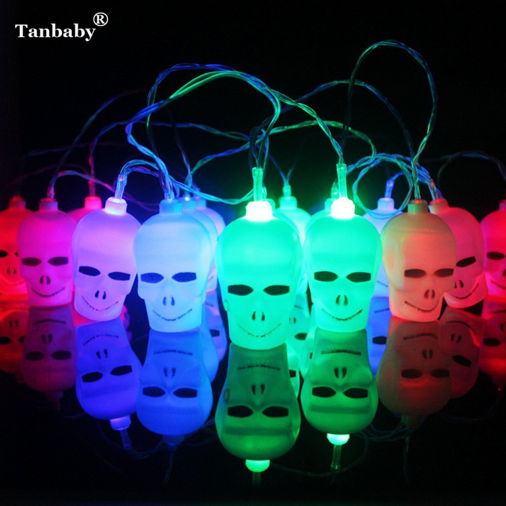 Tanbaby Halloween Skull LED String Lights Battery Powered Ghost For Festival Halloween Party Show Cosplay Garden Outdoor Deco