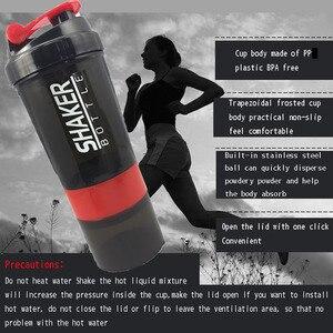 Image 5 - Creatieve Protein Poeder Shaker Fles Sport Fitness Mengen Wei eiwit Water Fles Sport Shaker Voor Gym Krachtige Lekvrij