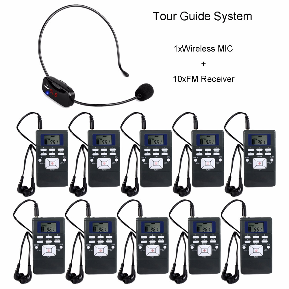 Wireless Tour Guide System Portable Voice Transmission System Set For Church Meeting 1 MIC Transmitter + 10 FM Receiver Y4305 dhl shipping atg100 portable mini meeting tourism teach microphone wireless tour guide system 1transmitter 15 receivers charger