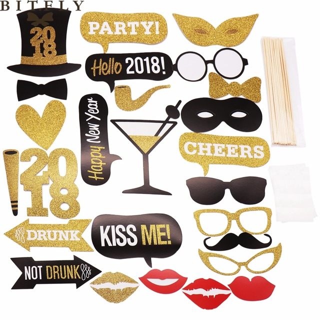 Photo Booth Frame Fun Props Decor 32pcs 2018 Happy New Year Eve Hats