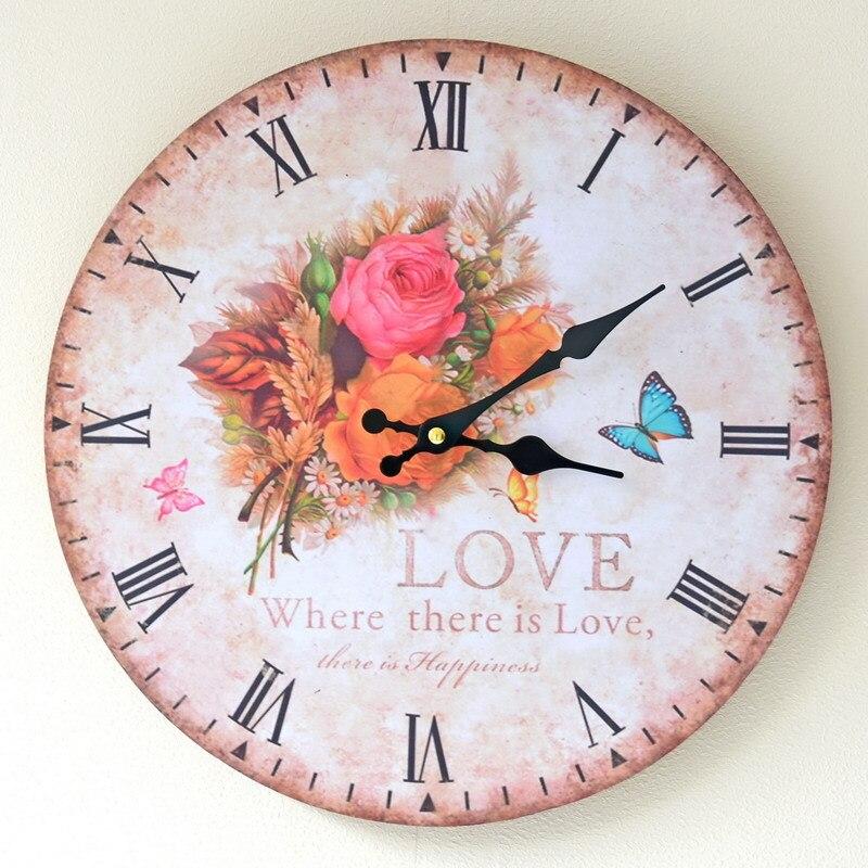 Decoración Para el hogar impreso floricultura Reloj de pared sin ...