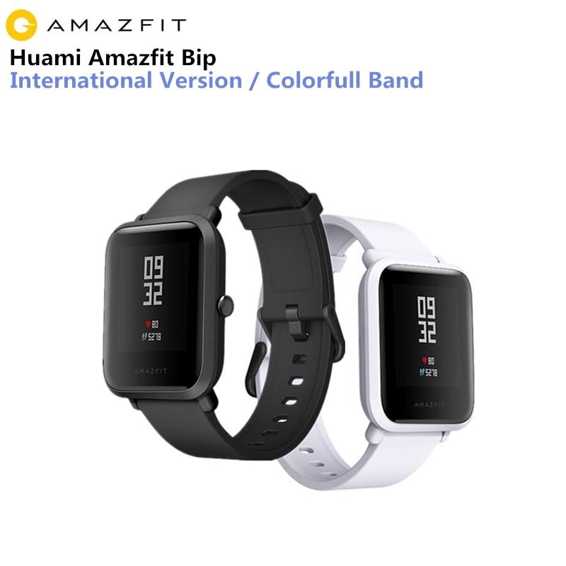 Huami Amazônia smartwatch Relógio Inteligente xiaomi Bip Pouco Rosto de Freqüência Cardíaca De Fitness GPS Tacker IP68 suporte Transporte da gota À Prova D' Água