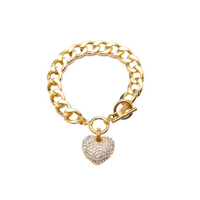 Gold Iced Out Heart Toggle...