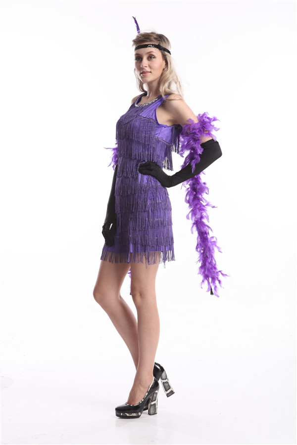 Free shipping Ladies 1920s Flapper Costume Sexy Womens 20 s Fancy Dress  Outfit zy419 purple black flapper dress-in Holidays Costumes from Novelty    Special ... 40f84d946689