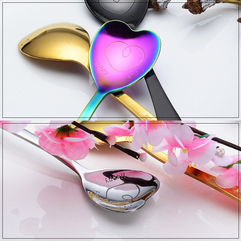 High Quality Heart Shaped Love Couple Spoon Creative Stainless Steel Coffee Tea Dessert Stiring Spoon Rainbow Black 1Pcs in Spoons from Home Garden