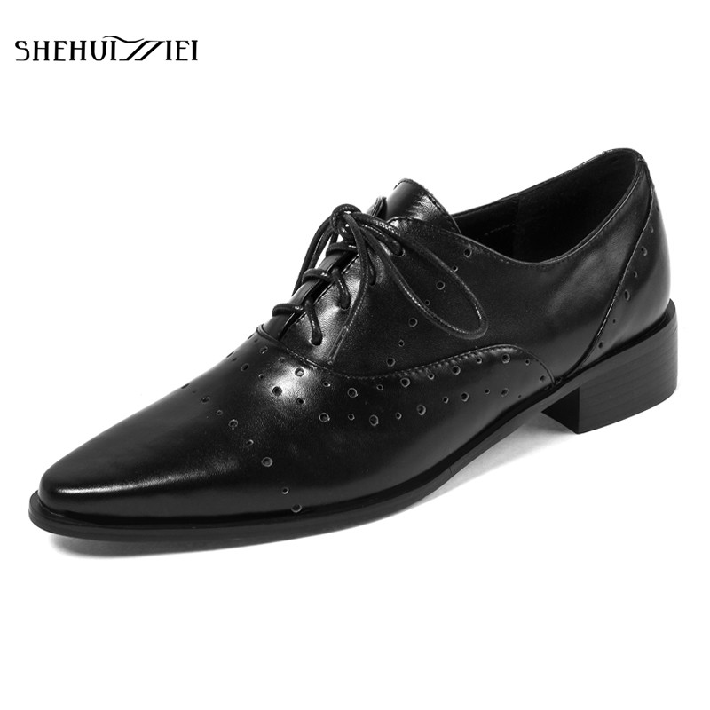 SHEHUIMEI Women Genuine Leather Derby Shoes Spring Autumn Black White Lace Up Flats Fashion Personality Brogue Shoes Woman 2018 lovexss genuine leather white flats lace up woman girl student shoes 2017 spring autumn loafers shallow crystal flats