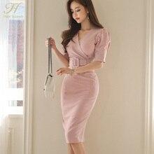 H Han Queen Womens Stripes Office Wear Summer Sexy Dress Puff Sleeve V-neck Sheath Bodycon Pencil Business Vestido Drop Shipping