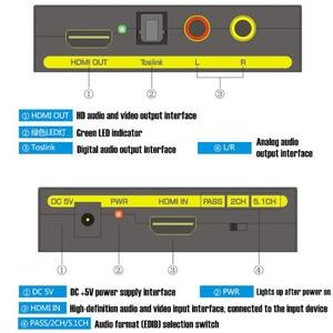 Image 2 - 2160P HD 4K x 2K ثلاثية الأبعاد HDMI إلى HDMI الصوت والفيديو النازع SPDIF البصرية ، وإزالة HDCP مفتاح اتفاق محول صوت فاصل ، الاتحاد الأوروبي التوصيل