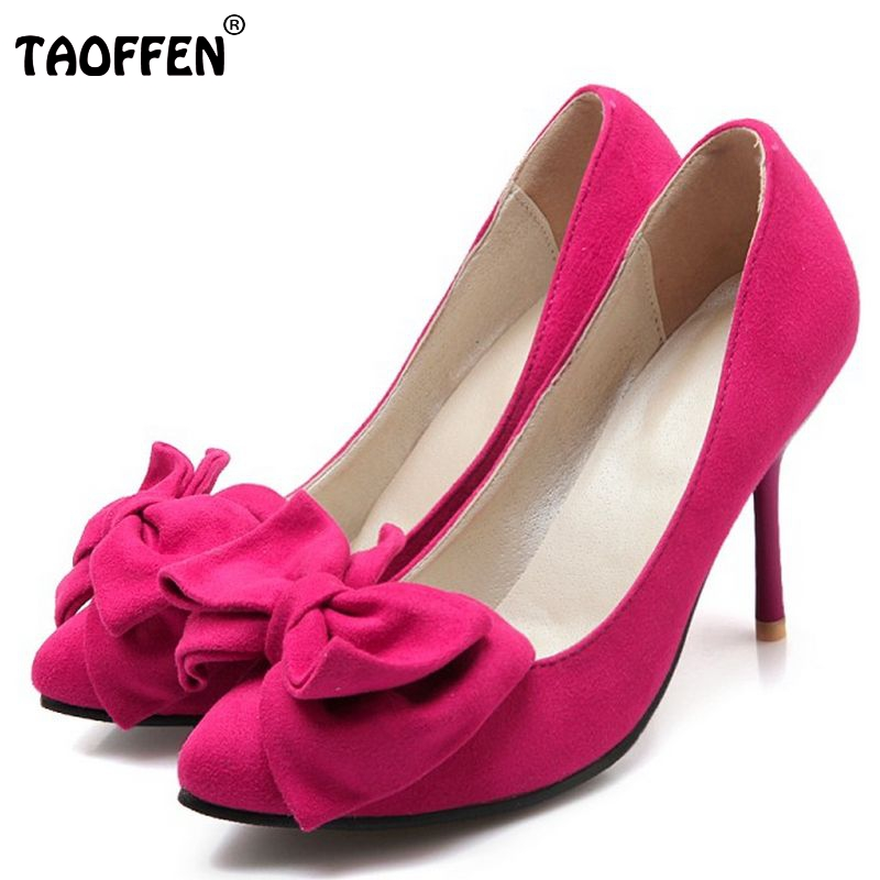women bowknot bowtie pointed toe pumps elegant thin high heel party shoes suede leather heeled footwear shoes size 34-43 PA00074 fashion suede leather heeled sandals pointed toe lace up women pumps spikle high heel women shoes zapatos mujer