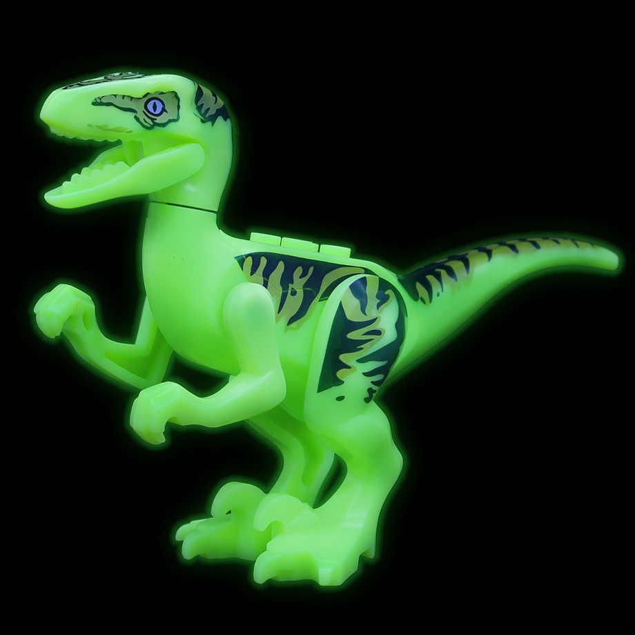 8 قطعة/المجموعة الجوراسي 2 الديناصور ريكس Indominus ريكس مضيئة ديناصور بناء كتل الطوب ألعاب الأطفال متوافق مع