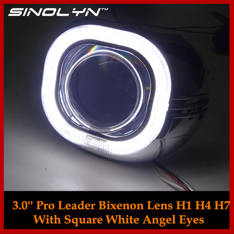 Automobiles Metal 3.0 Pro Square Angel Eyes Halo HID Bi xenon Lens Car Headlight Projector Headlamp Lenses H1 H4 H7 Car-styling стоимость