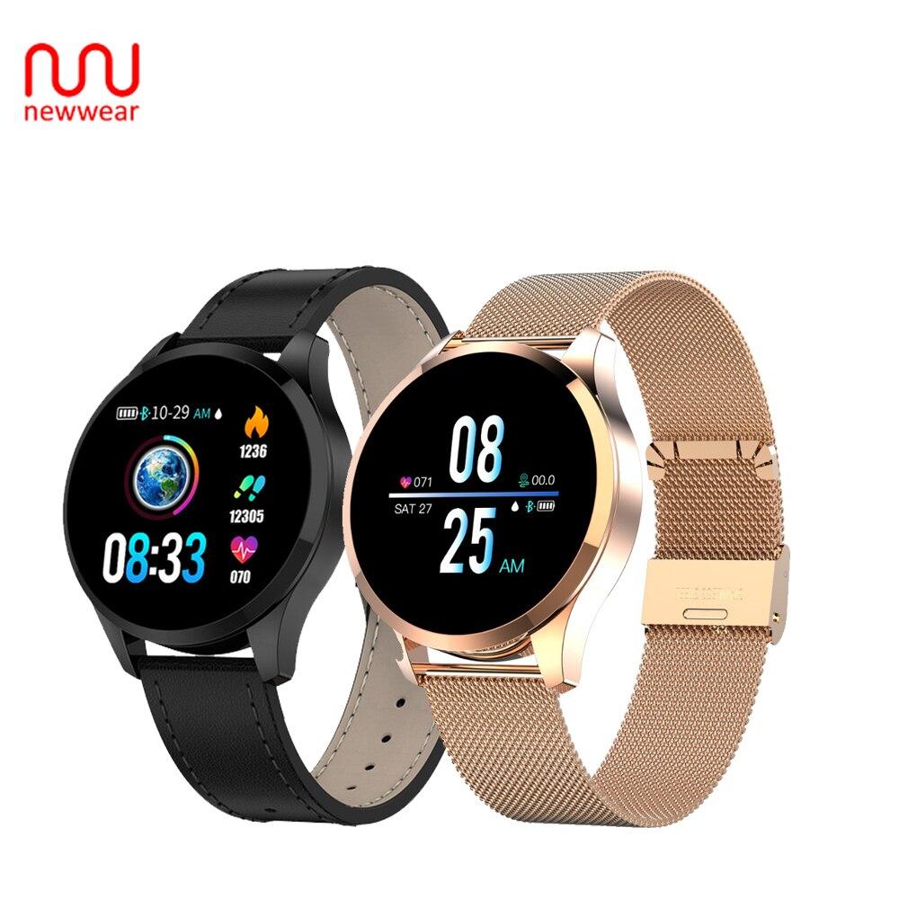 2019 Newwear Q9 HR Sensor de Monitor de Pressão Arterial Inteligente Relógio Das Mulheres Dos Homens À Prova D' Água Moda Fitness Rastreador Smartwatch VS Q8