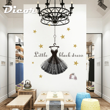 DICOR Baroque Waltz Wall Stickers Black Dress Shining Star For Girl Room Decor Clothing Store DIY Decal QTM363