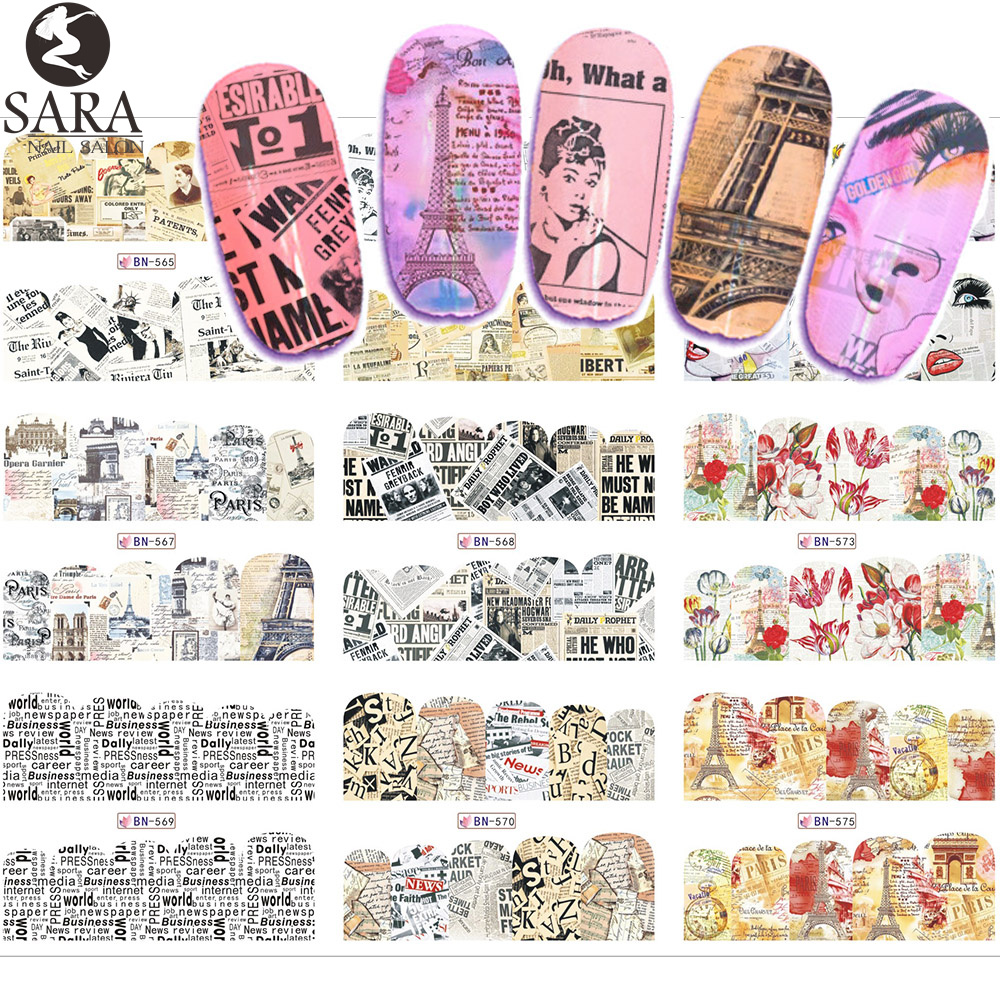 12 Designs Nail Art Water Decals Transfer Stickers 2017 New Retro Newspaper/Tower Design Women Beauty Nail Salon Tip SABN565-576 3d 12 candy colors glass fragments shape nail art sequins decals diy beauty salon tip free shipping