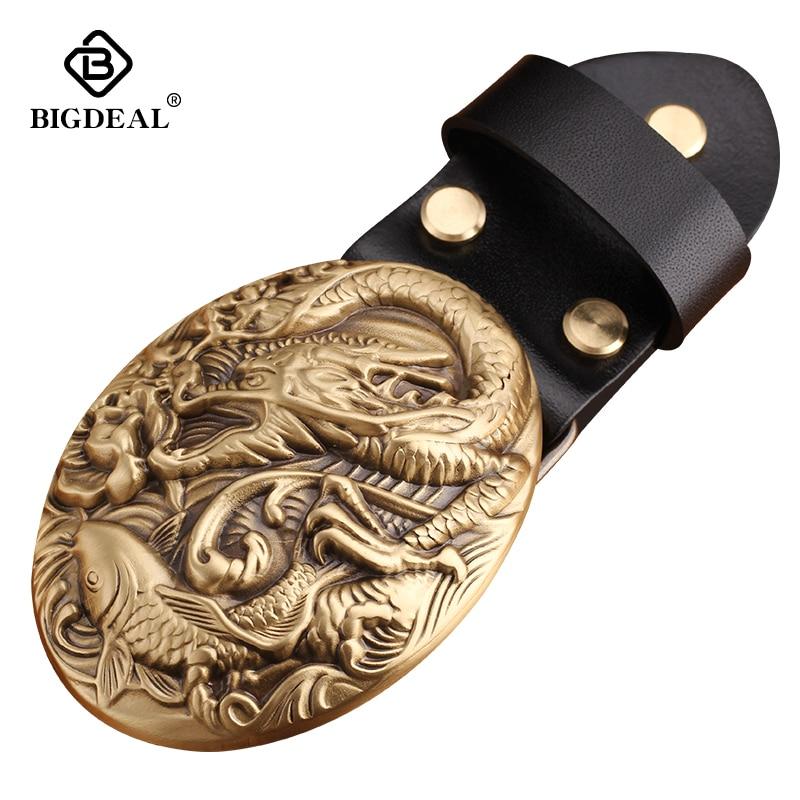 Wholesale High Quality Luxury Solid Brass  Belt Buckle Fashion Cowboy Buckles For 4cm Wide Belt Men Jeans Accessories