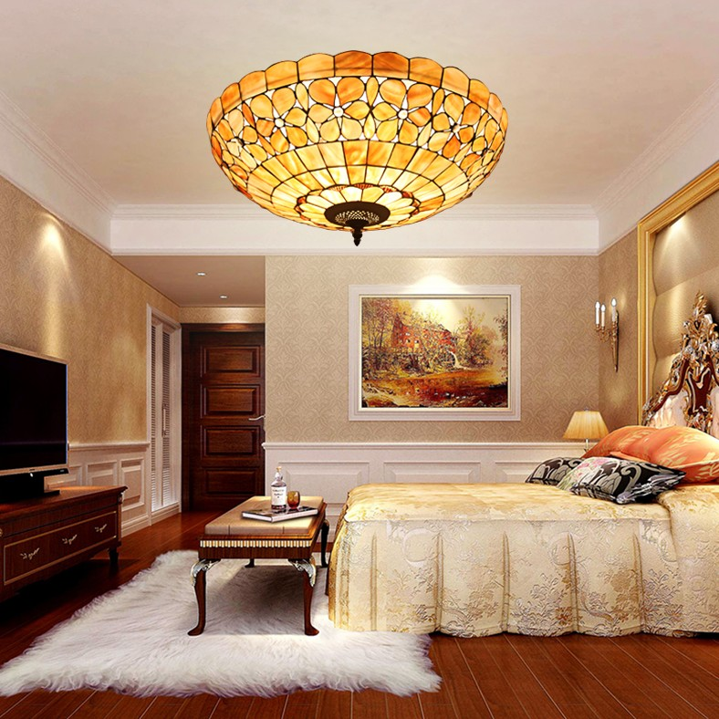 20inch Tiffany Mediterranean Style Natural Shell Ceiling