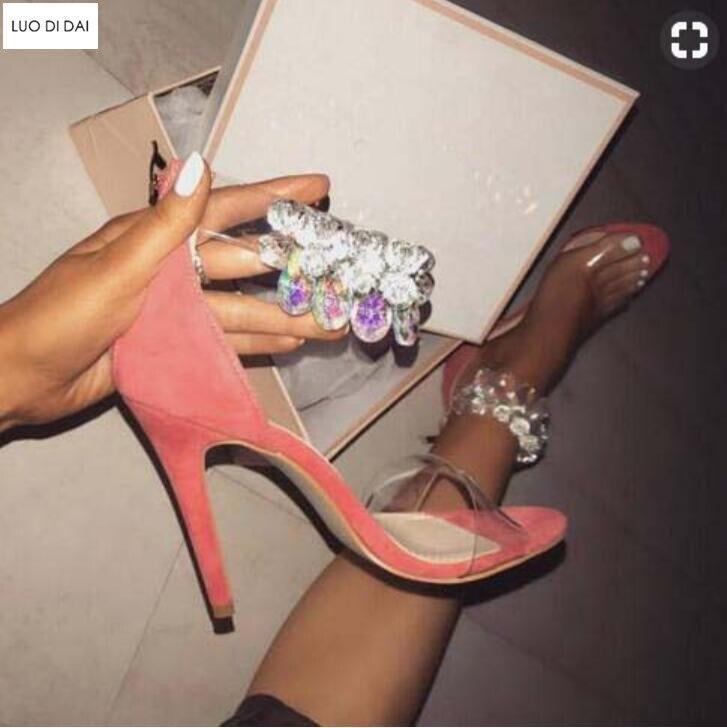 2019 noir Talon Pvc Hauts Glitter Nouvelles Chaussures Mince Diamant Talons Femmes rose De Sangle Spartiates Cheville Sandales blanc Beige Soirée SSrTq