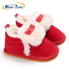 Mother Kids Baby Shoes First walker Unisex Winter Warm Faux Fur Inner Prewalk Fisrt Walker For Infant Anti-silp