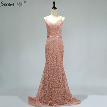 SERENE HILL Pink Crystal Pearls Backless Sexy Party Dresses