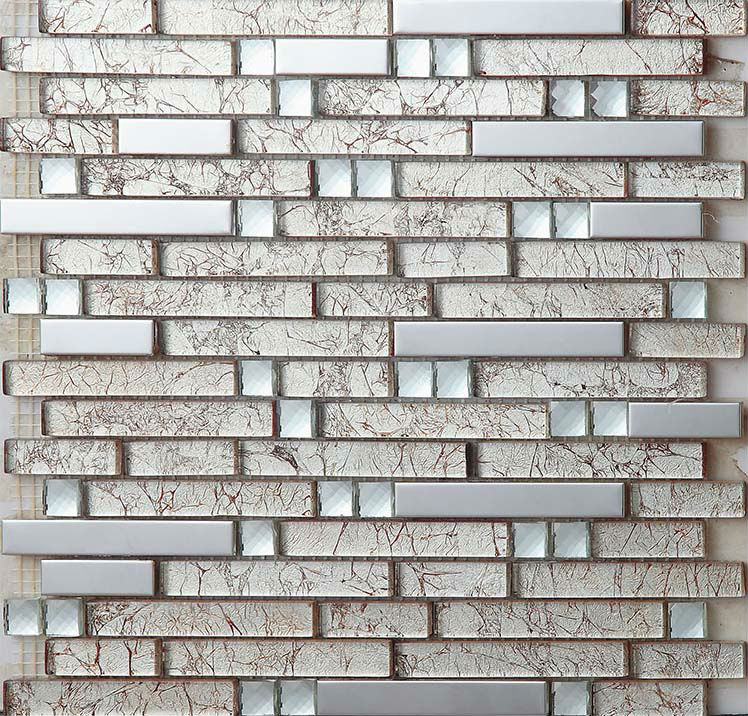 Stainless Steel Tiles Kitchen Backsplash Diamond Crystal Glass Metal Mosaics With Porcelain Base