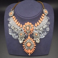 Luxury Glory Big Heavy Glass Painted Stone Statement Necklace For Women Party Accessories
