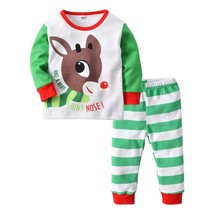 Baby Girls Boys Spring Autumn Cartoon Top+Striped Full Pant Sets Kids Children Soft Cotton Long Sleeve Fashion 2pcs Clothing Set